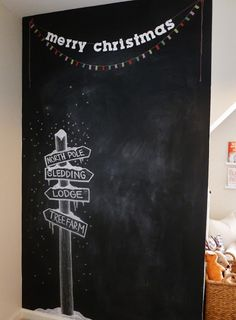 Little Baby Garvin: House Tour: Holiday Edition - Tafelfarbe - Blackboard Art, Chalkboard Lettering, Chalkboard Designs, Chalkboard Ideas, Chalkboard Writing, Chalkboard Drawings, Kitchen Chalkboard, Christmas Backdrops, Christmas Photos