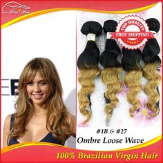 afro Queen Hair Products 5A Unprocessed Brazilian Virgin Hair ombre Loose Wave 4pcs lot Human Hair Extensions #1B&27 hair weaves $116.75 - 258.75