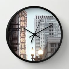 Chicago Oriental Theater, Photograph by Skye Ravy Wall Clock