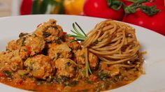 Turkey meat balls with spaghetti in a creamy sauce Turkey Meatballs, Creamy Sauce, Spaghetti, Pasta, Chicken, Ethnic Recipes, Tv, Food, Television Set