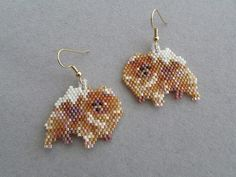 These earrings are sure to be a favorite of the Pomeranian owner or dog lover that you know. They measure about 1-3/8-inches wide and 1-1/4-inches long. They are made from approximately 640 tiny seed beads intricately woven, one at a time, with a needle and thread to create the finished wearable art you see here.  The pierced fish-hook ear wires are gold-plate over surgical steel. If you prefer the post type or clip on type please let me know when you purchase so that I can convert them…