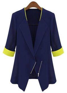 OL Style Lapel Color Block Half Sleeve Blazer For WomenBlazer | RoseGal.com