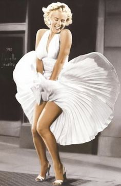 Marilyn #WhiteHalterDress #BlowingVent #1955 #ColorImage