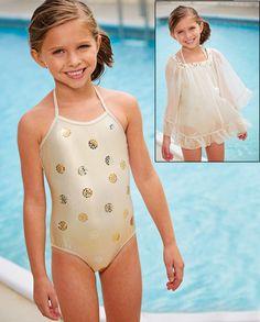 From CWDkids: Metallic Dots Swim Suit & Chiffon Cover Up.