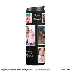 Shop Happy Moments Dark Background Photo Collage Thermal Tumbler created by Fotografixgal.