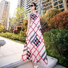2015 New summer long dress women casual plaid chiffon loose dress plus size bohemian maxi dress