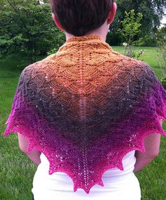 this is a nice pattern--but the other thing it shows is what the Twisted Fiber Art gradient yarns can do. Bridesmaid Shawl, Fingering Yarn, Pattern Art, Art Patterns, Knitted Shawls, Knit Crochet, Crochet Things, Hummingbird, Fiber Art