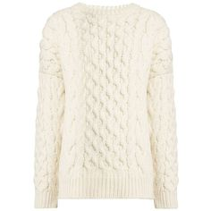 Joseph Cable Sweater in ECRU ($445) ❤ liked on Polyvore featuring tops, sweaters, shirts, maglie, ecru, white crew neck shirt, cable knit sweater, crew neck shirts, white sweater and cable knit crew neck sweater