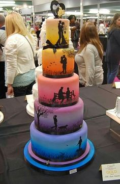 Amazing wedding cake telling The whole story….from bottom to top.  Pkease Follow: +Creative Ideas