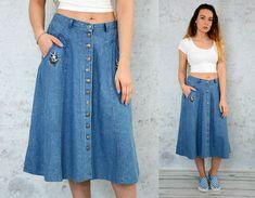 DUCK Skirt Jean High waisted jeans denim vintage midi button
