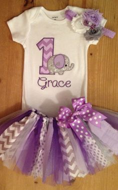Purple and Grey Elephant Birthday Tutu Outfit by ScrapHappyTutus on Etsy https://www.etsy.com/listing/190252576/purple-and-grey-elephant-birthday-tutu