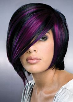 black and purple hair color and short cut.