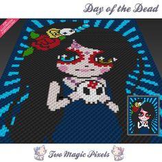 Day of the Dead crochet blanket pattern; knitting, cross stitch graph; pdf…