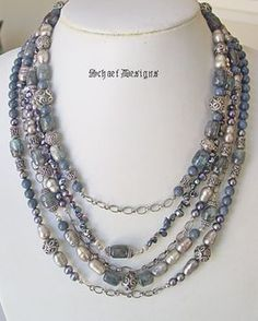 Kyanite pearl & sterling silver multi strand designer necklace | online upscale artisan handcrafted gemstone jewelry boutique| Schaef Designs Signature Collection Gemstone Jewelry | San Diego, CA