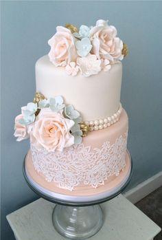 wedding cakes lace l - weddingcakes Wedding Cake Flavors, Wedding Cakes With Cupcakes, Wedding Cakes With Flowers, Wedding Cake Toppers, 2 Tier Wedding Cakes, Flower Cakes, Amazing Wedding Cakes, Elegant Wedding Cakes, Elegant Cakes