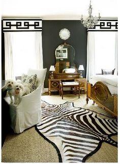 Love the valances and animal print rug