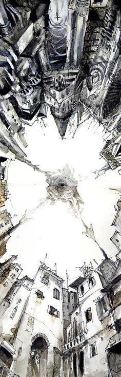 Ponto de fuga das linhas verticais; O Zénite. City Under Fire By Luke Mancini
