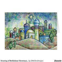 Drawing of Bethlehem Christmas Card