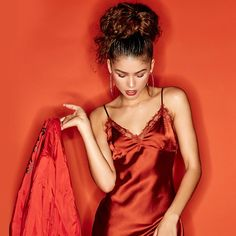 These Zendaya pictures are her hottest photos ever. Zendaya Coleman is one of the most popular women on TV. She started out in the entertainment industry as a model and quickly went on to starring roles on the Disney show Shake It Up playing Rocky Blue. Zendaya Coleman, Moda Zendaya, Pijamas Women, Satin Cami Dress, Silk Dress, Zendaya Style, Zendaya Fashion, Fashion Clothes, Models