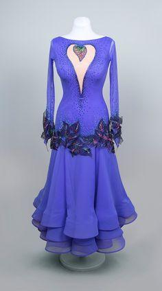 Wonderful light-weighted lilac ballroom dance dress, Lilac Heart | EM Couture