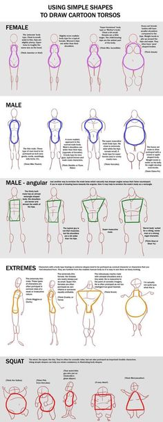 How to draw different Body shapes - human anatomy - Drawing Reference Drawing Lessons, Drawing Techniques, Drawing Tips, Drawing Ideas, Drawing Art, Sketch Drawing, Drawing Poses, Manga Drawing, Anime Sketch