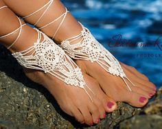 Off White Light Beige Ivory Crochet Barefoot Sandals, Beach Party Shoes, Beach Wedding Shoes, Summer Crochet Shoes, Summer Beach Party