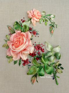 Wonderful Ribbon Embroidery Flowers by Hand Ideas. Enchanting Ribbon Embroidery Flowers by Hand Ideas. Rose Embroidery, Silk Ribbon Embroidery, Embroidery Patterns, Floral Ribbon, Ribbon Art, Ribbon Flower, Embroidery For Beginners, Embroidery Techniques, Flower Tutorial