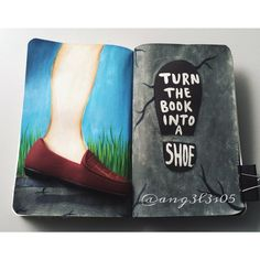 "177 Synes godt om, 7 kommentarer – Sussy Laina (@ang3l3s05) på Instagram: ""Wreck this journal: turn the book into a shoe. I used a dog toy from the dollar…"""