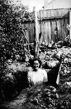 Backyard Air Raid Shelter, Essendon, Victoria, 1942. http://museumvictoria.com.au/collections/items/774011/negative-backyard-air-raid-shelter-essendon-victoria-1942