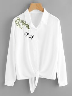ROMWE - ROMWE Swallows Embroidered Knot Front Shirt - AdoreWe.com