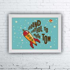 Quadro Major Tom, David Bowie, ground control to major tom, poster