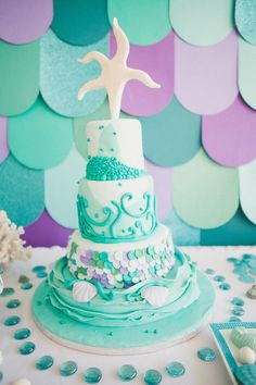 under the sea birthday party cake with a starfish topper Little Mermaid Birthday, Little Mermaid Parties, First Birthday Parties, First Birthdays, Birthday Ideas, Mermaid Cakes, Under The Sea Party, Cake Smash, Baby Shower