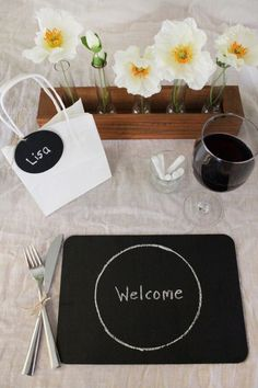 table number, place mat, favour tag and bottle decor
