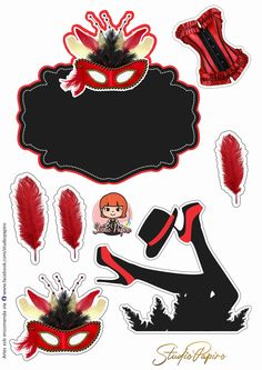 Cabaret, Cake Toppers, Stencils, Minnie Mouse, Carnival, Paper Crafts, Clip Art, Stamp, Party