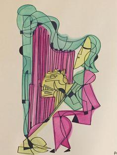 Dekapolitissa the harpist 18 x 24 ink and watercolor piece Bass Clarinet, Tarot Decks, Harp, Deck Of Cards, Amazing Art, Aurora Sleeping Beauty, Watercolor, Ink, Disney Princess