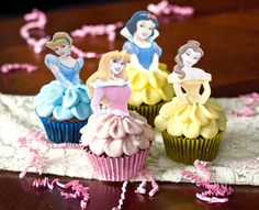 Disney Princess Cupcake Toppers and the frosting is the skirt...make white for a lesson about the temple or use their pictures for lesson about being daughters of God.