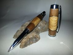 Hand Crafted Segmented Oak, Walnut and Aluminum Jr Gent Roller Ball Pen via Etsy