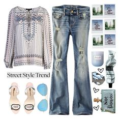 """The blues - Street Style Trend"" by karineminzonwilson ❤ liked on Polyvore featuring BCBGMAXAZRIA, American Eagle Outfitters, Sophia Webster, Cecilia Ma, Polaroid, Aesop, Fresh, Noir, Ray-Ban and StreetStyle"