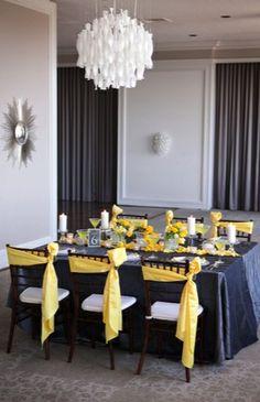 Wedding Inspiration for Allure-Event-Designs Grey Wedding Decor, Black And White Wedding Theme, Yellow Wedding, Yellow Party Decorations, Wedding Table Decorations, Wedding Table Settings, Black And White Centerpieces, Marigold Wedding, Batman Wedding