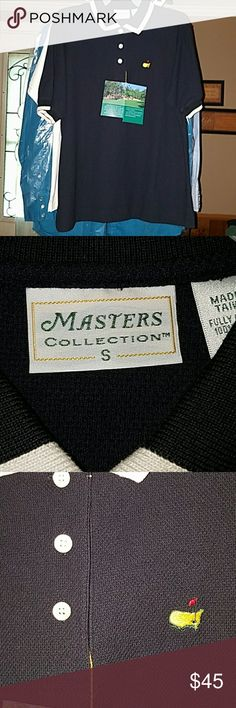 Men's  Golf Shirt NWT Masters Collection Black With Collar and Sleeves Trimmed in White Masters Collection Shirts Casual Button Down Shirts
