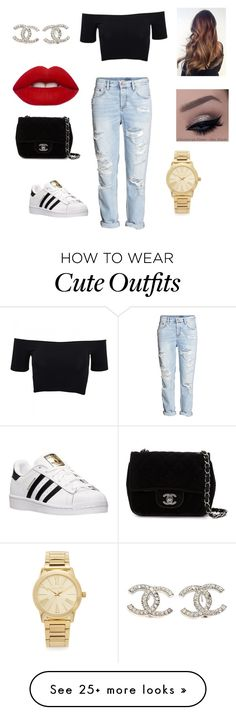 """Cute casual outfit "" by valentina0709 on Polyvore featuring American Apparel, H&M, adidas, Chanel, Lime Crime, Michael Kors, women's clothing, women, female and woman"