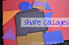 Get Crafty: Shape Collages - Creative Family Fun - Shape collages: an easy & fun kids craft - Easy Crafts For Kids Fun, Creative Arts And Crafts, Valentine Crafts For Kids, Craft Activities For Kids, Preschool Activities, Fun Crafts, Art For Kids, Shape Activities, Craft Ideas
