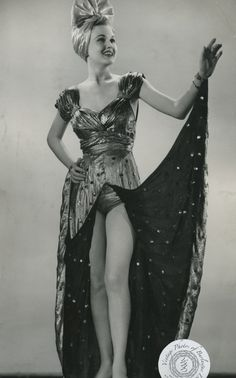 Wesley Brent, dated 4 August 1945. Wesley is shown modeling one of her costumes from the 1945 season of George White's Scandals.