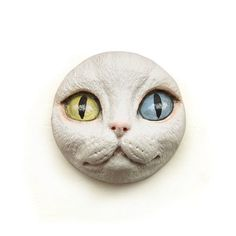 White Cat Odd Eyes Face Cab Polymer Clay Kitty by graphixoutpost
