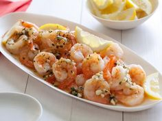 Find recipes for classic shrimp dishes, like shrimp scampi and shrimp and grits, with Food Network. Shrimp Dishes, Fish Dishes, Tasty Dishes, Food Network Recipes, Cooking Recipes, Giada Recipes, Bar Recipes, Cooking Food, Kitchen Recipes