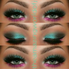 The combination of pink and turquoise eyeshadow shades is a great way to wear color. Long false lashes add drama that's perfect for a night out. #makeup makeup tutorial