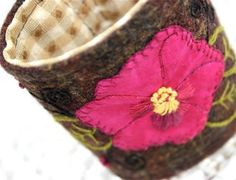 Tartán Plaid textil tela pulsera brazalete mano bordado muñeca Appliqued Pansy
