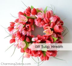 Super easy Spring wreath using dollar store tulips.