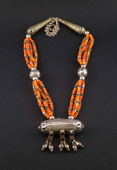 Yemen | Old vintage coral and silver hirz necklace