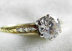 Diamond Engagement Ring .65 Ct Antique Old by DiamondSoulShop